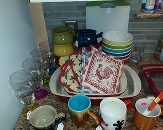 Colorful kitchen dishware and accessories