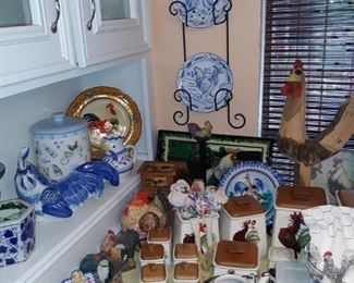 Rooster canister set, plates, frames, and more.