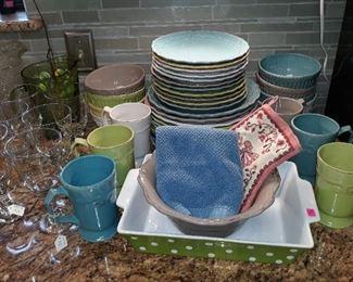 Colorful dishware and glassware