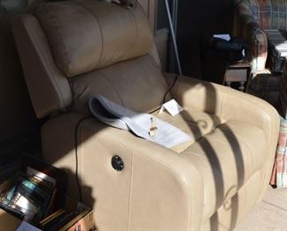 2nd of the pair of matching leather electric recliners
