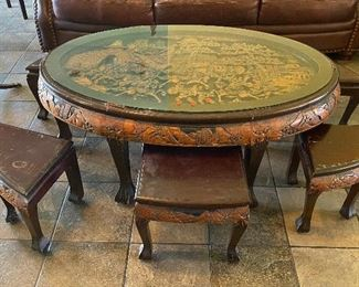 TM9104 Oriental Hand carved table and Chairs w/ Glass Top