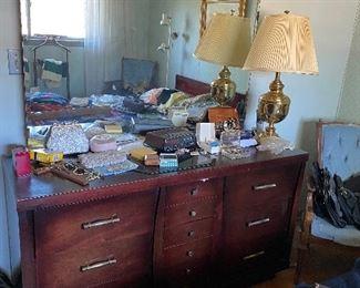 Cherrywood bedroom set... Vintage new purses with tags