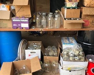 Regular one quart Mason/canning jars $1 each or 12 for $10. Canning rings and lids.  Collector/vintage one quart jars $3 and up.  Collector/vintage half gallon jars $5. Also have other canning supplies (pressure cookers, etc).