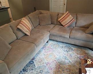 Microfiber sectional sofa. Haverty's brand.