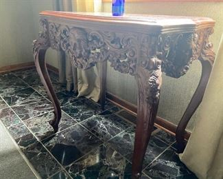 Antique hand carved entry table