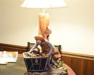Apsit Bros. of CA Lost Ductman Gold Mine Statue Lamp