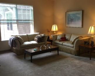 2 yellow love seats, coffee table and side tables also available