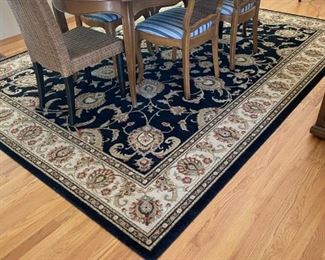Rug and dining table with chairs