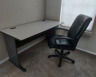 Adjustable office chair and desk