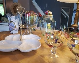 Serving trays and Glassware