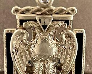 Heavy Antique 14K Gold Masonic Double Eagle 32 Degree Knights Templar Bifold Closing Locket  Fob 16 Grams