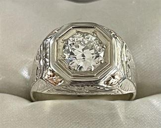 Stunning Antique Men's European Cut 1.6 Carat Diamond & Hand Etched White Gold 14k Ring Sz 10  Weighs 12 Grams
