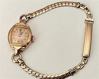 Antique Ladies Bulova 14K Gold Watch F418995 With Gemex 1/20th 12KT Gold Filled Band