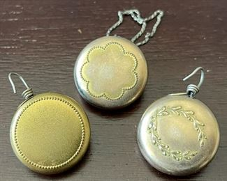(3) Antique Ketcham Mcdougall Retractable Gold Tone Chain Chatelaine Pin Pendant Fob's 1910
