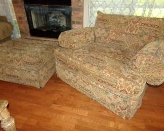 Large overstuffed Chair with matching ottoman