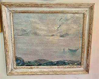 "$450 -""Mt. Desert, Maine""; original art by EM James, framed; 17.5"" H x 23.5"" W"