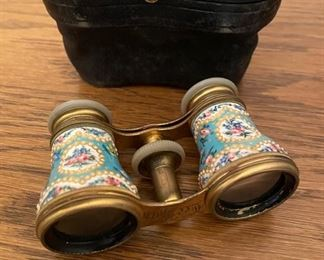 Antique Hand Painted Enamel Opera Glasses, Binoculars, Made In France, Circa 19th century, Belle Epoque