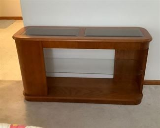 Console table glass top and shelf