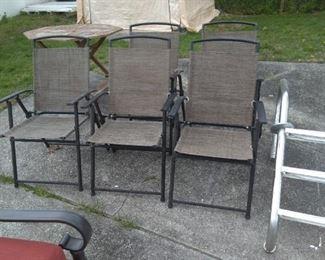 6 Folding patio chairs