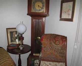 Grandfather clock - antique globe lamp