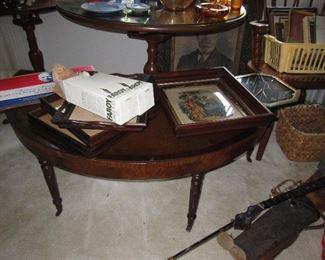 Half moon mahogany coffee table
