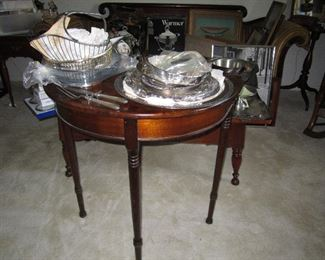 Silver plate serving pieces - antique round end tabl