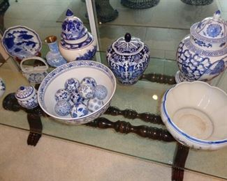 GLASS COFFEE TABLE/BLUE AND WHITE ITEMS
