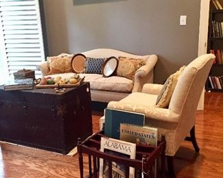 Steamer trunk coffee table - fantastic camel-back sofa - one of a pair of side chairs