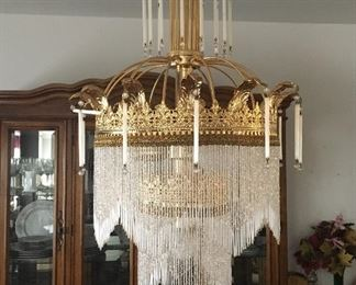Murano Glass Art Deco / Art Nouveau Chandelier, imported from Italy, w/ original paperwork & extra crystals