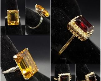 Yellow Quartz ring, Garnet and diamond