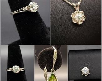 3/4 carat European cut diamond solitaire in platinum, .48 carat diamond in 14k white gold.