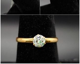 Approximately one half carat (.48) round mine cut diamond ring in 14k gold.  For anyone unfamiliar with mine cut diamonds, they are from the 19th and 18th centuries, before diamonds were machine cut. Each diamond was cut and polished completely by hand.