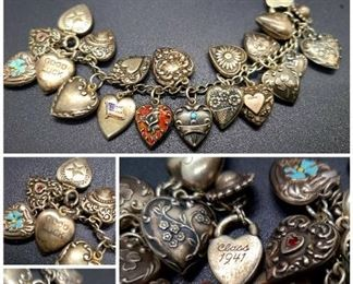 1940s sterling puffy heart charm bracelet, possibly even from the 1930s as the original owner graduated high school in 1941. There are some beautifully enameled charms on this piece.