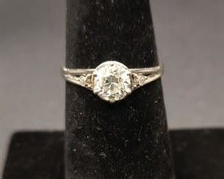 Beautiful platinum mount set with a 3/4 carat European cut diamond. The ring is in excellent condition.  Like mine cut diamonds, European cut diamonds are old.  They were common for a shorter amount of time, primarily between 1890 and 1930. They were especially common during the Art Deco period.