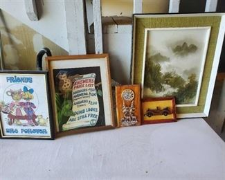 Lot of Wall Decor. Answers Price List . Friends Forver and 1 Oil