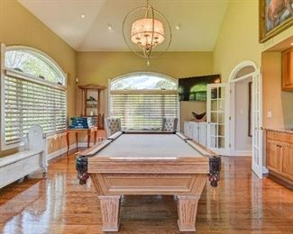 Pool Table Custom Sand Felt and Leather Ball Holder and Racks with Stick 1500, Bench 800, Table Two chair, 350, Antique game Table 800,