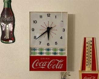 Coca-Cola Clock and Thermometers