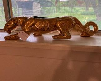 Vintage Gold-Leaf Jaguar Planter purchased from Woolworth