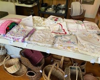 large selection of linens and baskets