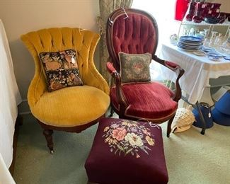 Victorian chairs and footstool