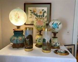 Beautiful Gone with the wind lamps, painted shdes, artwork