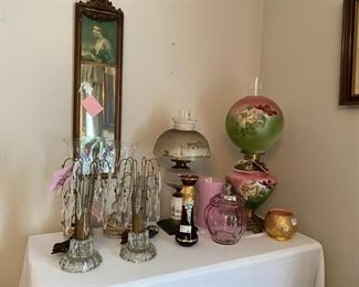 More amazing vintage lamps and handpainted glassware