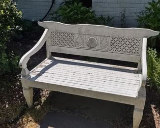 Nice size white painted garden bench