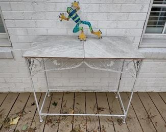 Wrought iron white painted outdoor table