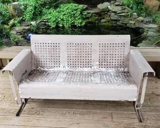Vintage rare 3-seat glider in working condition; very light surface rust