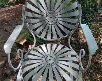 """Francois Carre French Art Deco """"Sunburst"""" Garden Side Chair (close up picture of 1 of 4)"""