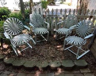 "Francois Carre French Art Deco Iron ""Sunburst"" Garden Side Chairs - set of 4; good vintage condition"