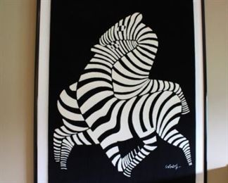 AUTHENTIC 5'X 7' VICTOR VASARELY FRAMED WOOL RUG W/SIGNATURE ON BACK
