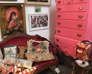 Cool pink highboy, Victorian velvet sofa, framed vintage yo-yo bits, needlepoint rug
