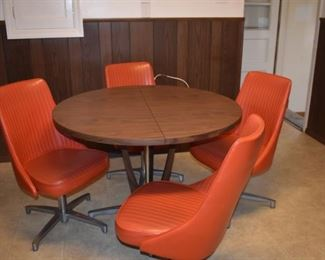 Vintage Dinette Table with 4 Swivel Chairs